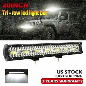 20inch Tri Row Cree Led Light Bar Flood Spot Offroad Suv 4wd Utv Work Driving