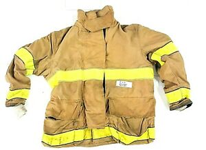 50x35 Globe Brown Firefighter Bunker Turnout Jacket Coat With Yellow Tape J812