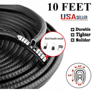 10 Ft Car Door Trim Black Edge Guard Moulding Protector Strip Rubber Metal Seal