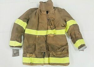 50x35 Globe Firefighter Brown Bunker Turnout Jacket Coat With Yellow Tape J816