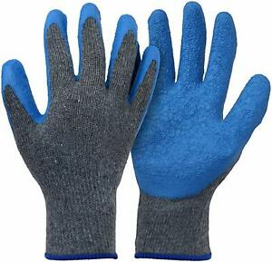 12 pairs Knit Work Gloves Cotton Textured Rubber Latex Coated For Construction