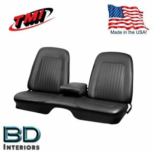 1967 1968 Camaro Front 48 Folding Rear Bench Seat Upholstery Black Tmi