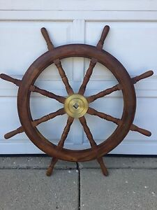 Ships Wheel Solid Teak With Solid Brass Center To Wheel Local Pickup Only