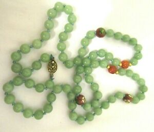Antique Chinese Export Green Jade Carnelian Cloisonne Sterling Clasp Necklace