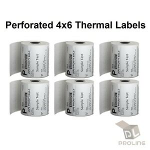 20 Rolls Direct Thermal Perforated Labels 250pr 4x6 For Zebra 2844 Zp450 Eltron