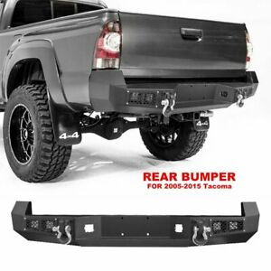 Offroad Steel Rear Bumper With Led Lights D rings Fit Toyota Tacoma 2005 2015