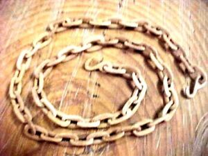 Hand Carved Wood Chain Wooden Whimsy Approx 40 Folk Art 2 Hooks Tramp Art