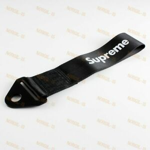 Black Car Tow Towing Strap Jdm Supreme Racing Drift Rally Belt Hook Universal X1