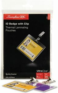 Swingline Gbc Ultraclear Thermal Laminating Pouches Badge id Card Size 3202011