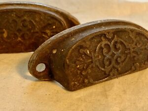 Pair Victorian Eastlake Drawer Pulls Map Chest Apothecary Cabinet Hardware