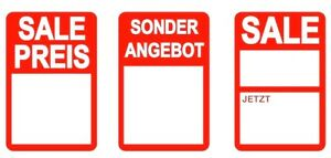 German Red Sale Price Stickers Sticky Labels Tags