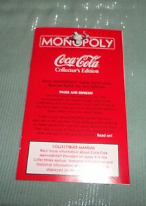 COCA-COLA MONOPOLY 1999 Collector Edition Instructions Rule Book ~ XLNT