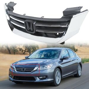 Black Chrome Front Bumper Hood Grille For Honda Accord 4d 2013 2015 2014