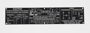 Dash Data Plate Fits Willys Jeep 46 64 Cj2a Cj3a Cj3b