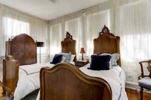 Two Antique French Walnut Twin Beds