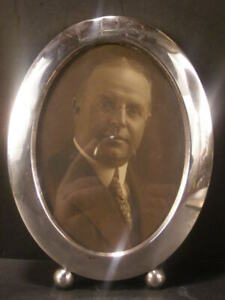 Antique Art Deco Oval Sterling Silver Picture Portrait Photo Frame Ball Foot 20s