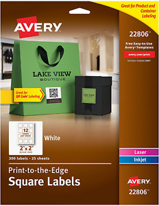 Avery Square Labels For Printers Print to the edge 2 X 2 300 Labels
