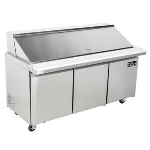 72 Mega Sandwich Prep Table Unit 3 Door Top Salad Prep 30 Pan Cooler 6 New