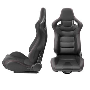 Pair Black Reclinable Racing Seat 2 Slider Sport Bucket Pvc Leather Right Left