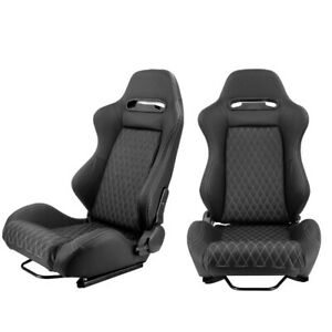 Pair Reclinable Black Racing Seats 2 Sliders Sport Bucket Pvc Leather Left Right