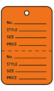 3000 Perforated Tags Price Sale Large 1 X 2 H Two Part Orange Unstrung
