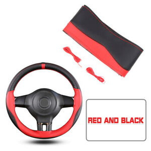 Black red Pu Leather Diy Car Auto Steering Wheel Cover 38cm W needles And Thread