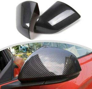 2x Carbon Fiber Rear Side View Mirror Cover Shell Trim For Ford Mustang 2015 19