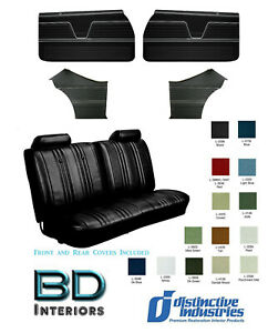1969 Chevelle Coupe Front Bench Rear Seat Upholstery Covers Full Panel Set