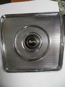 Original 1962 1964 Chevy Rear Seat Speaker Grill Cover Chrome With Emblem