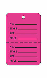 Perforated Tags Price 1000 Sale 1 X 1 Two Part Hot Pink Unstrung Tag Small