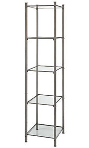 Open Display Tower Steel Silver 18 X 18 X 77 Retail Shelves Boutiques Salons