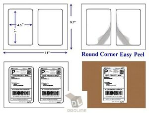 1000 Quality Round Corner Shipping Labels 2 Per Sheet 7 X 4 5