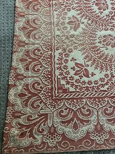 Vintage Antique Coverlet Bedspread Tablecloth Woven As Is Fabric Primitive
