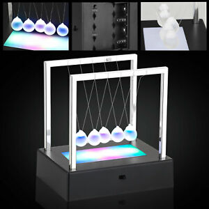 Led Newtons Cradle Balance Ball Home Decor Office Science Desk Gravity Toy Gifts