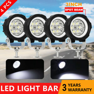 4pcs 3 Led Work Light Pods White Drl Fog Driving Spot Lights Offroad 4wd Suv
