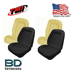 Sport Bucket Seat Upholstery 1967 To 1968 Camaro Front Set Black Includes Foam