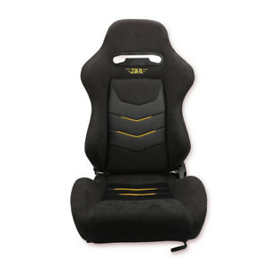 Left Driver Side Black Suede Reclinable Sport Bucket Universal Racing Seat Chair