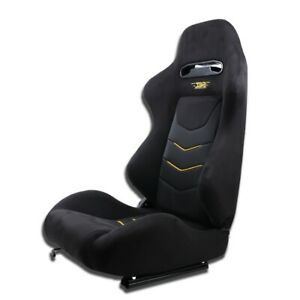 Right Side Black Suede Reclinable Bucket Universal Racing Seat Chair With Slider