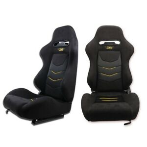 1 Pair Reclinable Universal Racing Bucket Seats Chair With Slider Black Suede