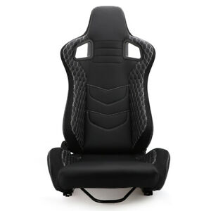 1pc Right Side Universal Adjustable Racing Seat Leather Bucket Chair With Slider