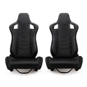 Universal Pair Reclinable Racing Seats Chair 2 Sliders Leather Bucket Sport Seat