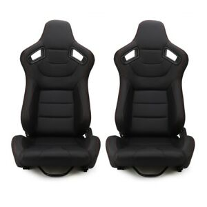 Universal 1 Pair Recline Black Leather Driver Car Racing Bucket Seat 2 Sliders
