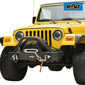 Eag Front Bumper With D rings Rock Crawler Fits 87 06 Jeep Wrangler Tj yj
