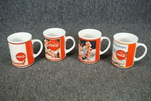 Set Of 4 Vintage Coca-Cola Mugs With Picture 4