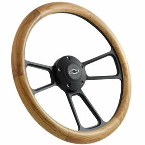 Black Billet And Oak Wood 14 Steering Wheel For 1995 2001 Chevy S 10