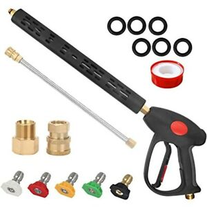 High Pressure Washer Gun Kit 4000 Psi Power With Extension Wand Lance 5 Spray