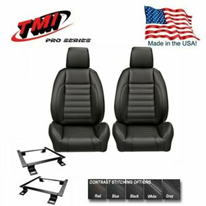 Tmi Pro Series Low Profile Buckets W Headrest Brackets For 1967 1969 Camaro