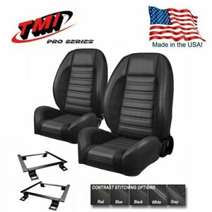 Tmi Pro Series Sport R Complete Bucket Seat Set Brackets For 1967 69 Camaro