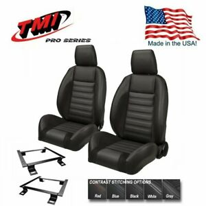 Tmi Pro Series Sport R Bucket Seats W Headrests Brackets For 1967 69 Camaro
