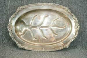 19 5 Long Oval Silver Plated Vintage Footed Serving Tray By Sheridan